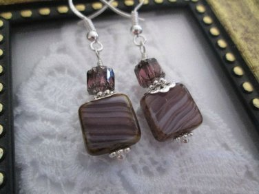 Handmade Laced Purple Square Glass Sterling Silver Earrings, Free Shipping!