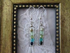 Green Gradation Czech Glass Beads Silver Tone Earrings, Free U.S. Shipping!