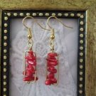 Handmade Red Coral Chip Gold Tone Earrings, Free U.S. Shipping!