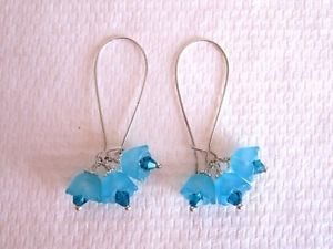 Handmade Acrylic Flower and Crystal Bouquet Silver/Gold/Bronze Tone Earrings