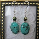 Handmade Oval Green Turquoise Silver Tone Earrings, Free Ship!