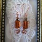 Czech Rectangle Silvery Honey Brown Glass Bead Copper Wire Earrings, Free Ship!