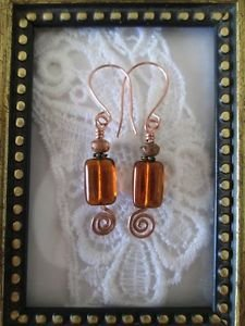 Czech Rectangle Silvery Honey Brown Glass Bead Copper Wire Earrings, Free Ship!