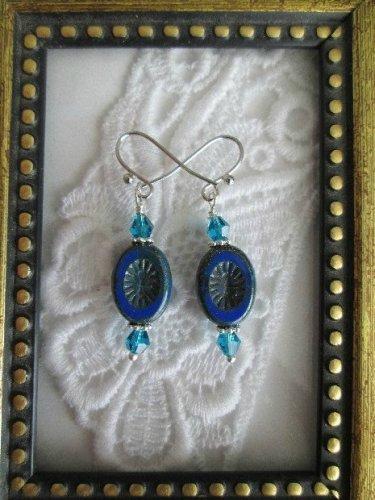 Dark Blue Oval Burst Czech Bead Earrings, Free U.S. Ship