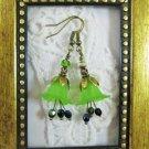 Handmade Green Lily Flower &  Peridot Czech Glass Antique Bronze Tone Earrings