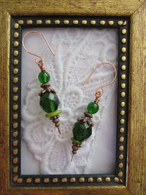 Classical Emerald Green Fire Polished Copper Earrings, Free Shipping!