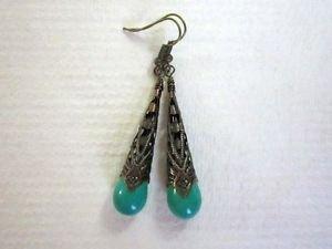 Handmade Light Blue Drop Stone Long Antique Copper Filigree Cone Earrings