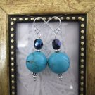 Handmade Turquoise and Dark Fire Polished Bead  Earrings, Free U.S. Ship!