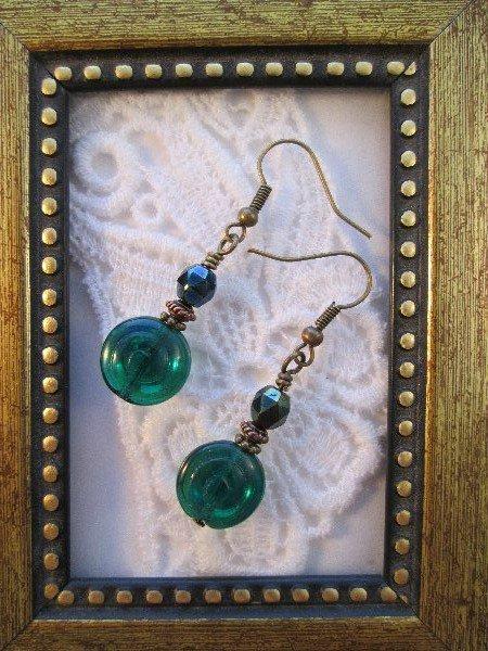 Emerald Green / Silver Swirly Czech Glass Bronze Tone Earrings, FREE SHIP!