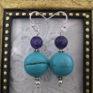 Handmade Round Turquoise and Purple Bead Earrings, Free U.S. Ship!