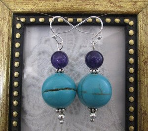 Handmade Round Turquoise and Purple Bead Earrings, Free U.S. Ship!
