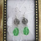 Handmade Light Green Czech Glass Drop Silver Tone Earrings, Free Ship!