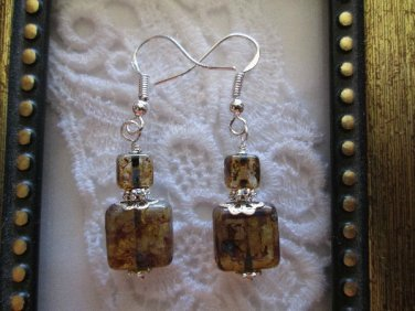 Handmade Picasso Amber Square Glass Sterling Silver Earrings, Free Shipping!