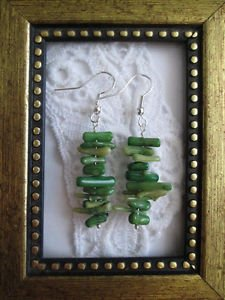 Handmade Green Coral Chip Stack Silver Tone Dangle  Earrings, Free Shipping!
