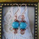 Handmade Blue Howlite Turquoise Spiral Copper Wire Earrings, Free Shipping!