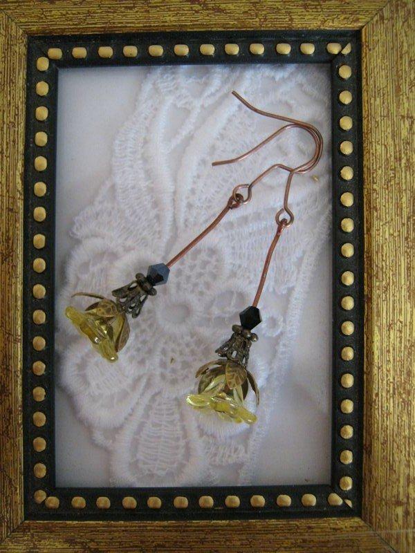 Long Stemmed Yellow Flower Copper Tone Earrings, Free Ship!