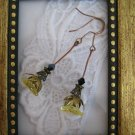 Long Stemmed Yellow Flower Copper Tone Earrings, Free Ship!