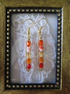 Orange Cream Gradation Czech Glass Gold Tone Earrings, Free U.S. Shipping