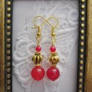 Handmade Double Ruby Gold Tone Earrings, Free U.S. Shipping!!