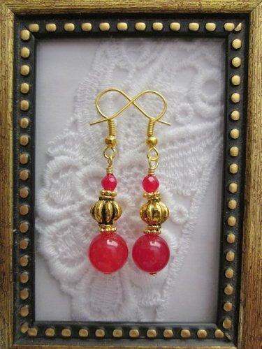 Handmade Double Ruby Gold Tone Earrings, Free U.S. Shipping!!