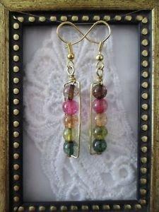 Handmade Rainbow Fluorite Gemstone Gold Tone Earrings, Free U.S. Shipping!