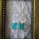 Handmade Blue Green Rounded Square Glass Silver Tone Earrings Free Shipping!
