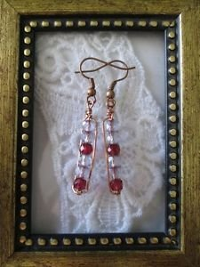 Wine Purple Czech Glass Beaded Copper Wire Rectangle Earrings, Free U.S. Ship!