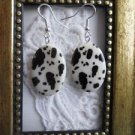 Dalmatian / Cow Print White Oval Shell Silver Tone Earrings Free U.S. Shipping!