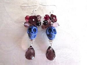 Halloween / Day of the Dead Purple Porcelain Sugar Skull Silver Tone Earrings