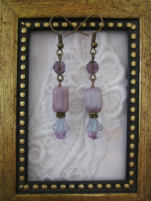 Handmade Milky Lavender Glass Flower Earrings, Free U.S. Shipping!!