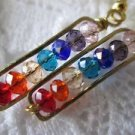 Handmade Chakra Color Crystal Gold Tone Earrings, Free U.S. Shipping!