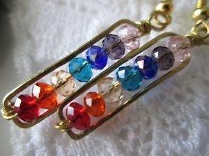 Handmade Chakra Color Crystal Gold Tone Earrings, Free U.S. Shipping!