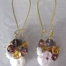 Handmade White Coin Pearl & Amethyst Purple Bubble Chandelier Long Hoop Earrings
