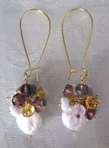Handmade White Coin Pearl & Amethyst Purple Bubble Chandelier Long Hoop Earrings