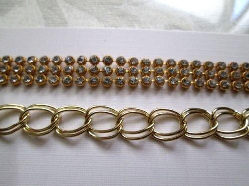 Gold Tone or Silver Tone Rhines Stone Chain Bracelet, Free U.S. Shipping!