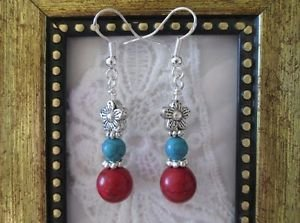 Handmade Turquoise, Red Howlite and Silver Flower Earrings, Free U.S. Shipping!
