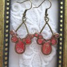 Handmade Apple Red Glittered Bronze Tone Earrings, Free U.S. Shipping!