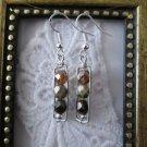 Handmade Czech Picasso Glass Beads Silver Tone Earrings, Free U.S. Shipping!