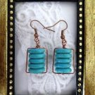 Stacked Blue Turquoise Disc Copper Wire Wrapped Earrings, Free U.S. Shipping!