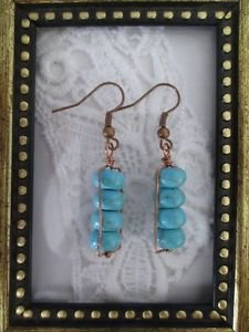 Stacked Chunky Turquoise Copper Wire Wrapped Earrings, Free U.S. Shipping!