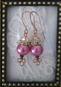 Pink Pearl & Crystal Copper Earrings, Rhine Stone Accent, Handmade Ear Wires