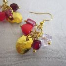 Handmade Red Pink and Gold Passion Gem Jam Gold Tone Earring Free U.S. Shipping!