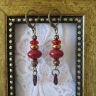 Opaque Red UFO Czech Rustic Bronze Tone Lever Back Earrings, Free U.S. Ship!