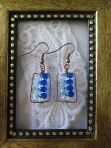 Two-Tone Blue Tear Drop Copper Wire Rectangle Earrings, Free U.S. Shipping!
