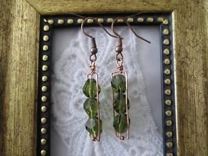 Olive Green Facet Glass Bead Copper Wire Rectangle Earrings, Free U.S. Shipping!