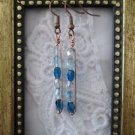 Oval Blue Czech Glass Bead Copper Wire Rectangle Earrings, Free U.S. Shipping!