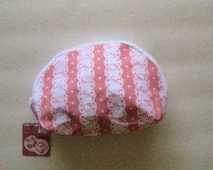 New! HELLO KITTY Logo Pink / White Zippered Nylon Cosmetic Case, Free U.S. Ship