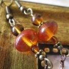 Amber Brown Czech Bead Rustic Glass Bronze Tone Earrings, Free U.S. Shipping!