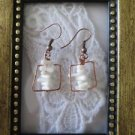 Handmade Stacked White Coral Chip Copper Wire Earrings, Free U.S. Shipping!