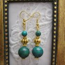 Handmade Azurite Chrysocolla Gold Tone Earrings, Free U.S. Shipping!!